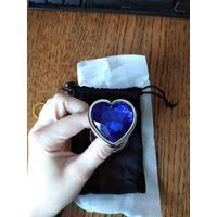 Анальная пробка. большая 95*40 мм, металл, синий камень сердце, новая