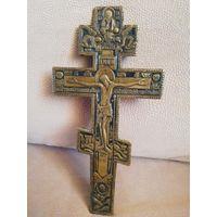 Старинный крест распятие с эмалью большой. 27х13,5см