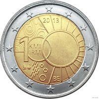 2 евро 2013 Бельгия 100-летие Королевского метеорологического института Бельгии UNC из ролла