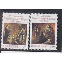 Ватикан, 1991, Ми-1038-9 ** 600 лет ордену Святой Бригитты Живопись РН