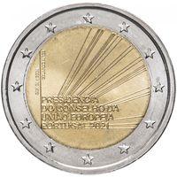 2 евро 2021 г. Португалия  Председательство в Совете Европейского Союза UNC из ролла