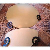 Светильники оригинальные на потолок, стену. Для гостиной, спальни, прихожей. Цвет мягкий желтый. Металлическая фурнитура. Два больших и одно поменьше (усеченный). Отличное качество. Цена за 3.