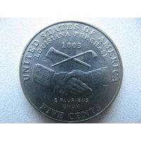 США 5 центов 2004 г. (Р) 200 лет экспедиции Льюиса и Кларка - Приобретение Луизианы. (юбилейная)