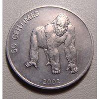 "Конго. 50 сантимов 2002 год KM#79 ""Фауна Животные Горилла"""