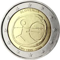 2 евро 2009 Словения 10 лет Экономическому и валютному союзу UNC из ролла