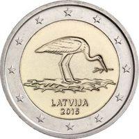 2 евро Латвия 2015 Черный аист . Из ролла