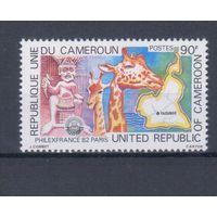 [663] Камерун 1982. Фауна.Жирафы. Одиночный выпуск. MNH