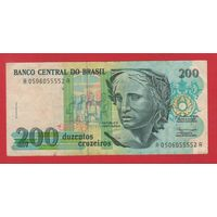 БРАЗИЛИЯ. 200 крузейро 1992г. 0506055552  красивый номер. распродажа