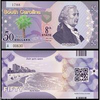 США - 50 Dollars - 8 штат South Carolina - 2014 - Polymer - UNC
