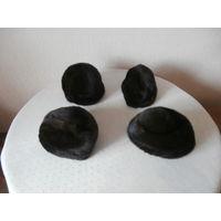 Шапка норковая темно - коричневая размер 57 - 58, 2 штуки.