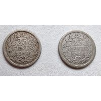 Нидерланды 25 центов, 1914 6-4-39*40
