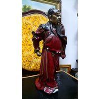 Китайский воин. Керамика, подглазурная роспись. 33 см.