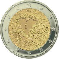 2 евро 2008 Финляндия 60-летие принятия Всеобщей декларации прав человека UNC из ролла