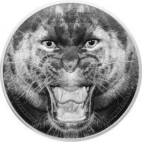 """Танзания 1500 шиллингов 2016г. Первая монета серии: """"Редкая дикая природа: Чёрная пантера"""". Монета в капсуле; подарочном футляре; номерной сертификат; коробка. СЕРЕБРО 62,27гр.(2 oz)."""