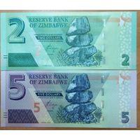 Набор банкнот 2 и 5 долларов 2019 года - Зимбабве - UNC