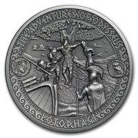 """Соломоновы острова 5 долларов 2018г. """"Путешествия Одиссея: Лотофаги"""". Монета в капсуле; подарочном футляре; сертификат; коробка. СЕРЕБРО 62,27гр.(2 oz)."""