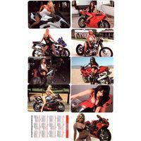 Календарики Испании, девушки на мотоциклах,9 шт,2012