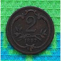 Австрия 2 геллера 1897 года. Орел.