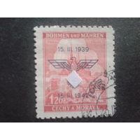Рейх протекторат 1942 надпечатка-герб протектората