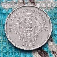 Сейшельские острова 1 рупия 1995 года. Морской моллюск. Герб Сейшел.
