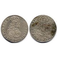 Орт 1667 TLB, Ян II Казимир Ваза. Ав - герб Слеповрон в щите