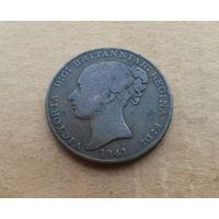 Джерси, 1/13 шиллинга 1841 г. (большая), Виктория (1837-1901)