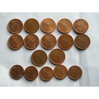 Финляндия, Подборка Евроцентов 17 разных  монет 1999-2012 (14)