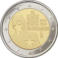 2 евро 2011 Словения 100 лет со дня рождения Франца Розмана UNC из ролла