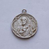 Католический медальон Иисус и Божья Матерь диаметр - 32,5мм