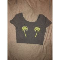 Майка топ с пальмами на груди