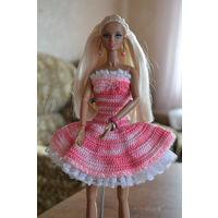 Розовое вязанное платье для кукол Barbie, Integrity toys, hand made