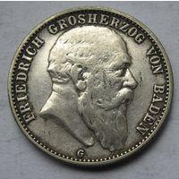 Германия, Баден, 2 марки, 1903, серебро