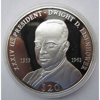 Либерия 20 долларов 2000 Дуайт Эйзенхауэр - серебро 20 гр. 0,999 - нечастая!