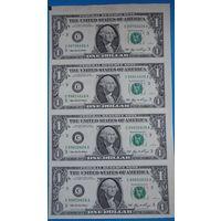 Неразрезанный лист 1$ купюр США.