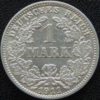 YS: Германия, Рейх, 1 марка 1911J, серебро, КМ# 14