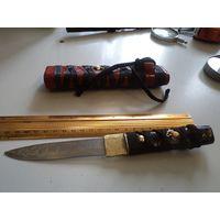 Нож ручной работы в японском стиле в деревянных ножнах(4)