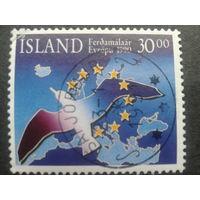 Исландия 1990 туризм, птица и карта