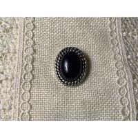 Брошь Чёрный кабошон под Оникс Англия винтаж пластик