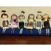 Миниатюрные текстильные крошки-брошки ручной работы