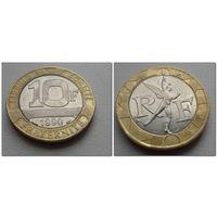 10 франков Франция 1990 г.в. KM# 964.1, 10 FRANCS, из коллекции