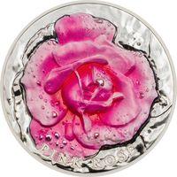 """Палау 10 долларов 2017г. Первая монета серии: """"Горельеф цветов: Розовая роза"""". Монета в капсуле; подарочном футляре; номерной сертификат; коробка. СЕРЕБРО 62,27гр.(2 oz)."""