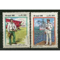 Авиация. Флот. Военная униформа. Бразилия. 1986. Полная серия 2 марки. Чистые