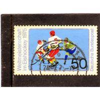 Германия. Mi:DE 835. Хоккей на льду. Чемпионат мира по хоккею , Мюнхен и Дюссельдорф. 1975.