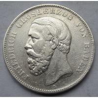 Германия, Баден, 5 марок, 1875, серебро