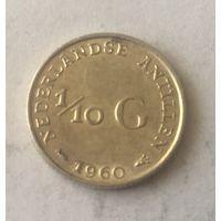 Антилы, 1\10 гульдена, 1960, серебро