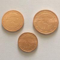 Эстония 1-2-5 центов (3 монеты) 2018 (очень редкий год!) UNC из ролла