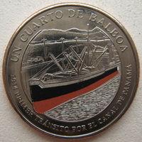 Панама 1/4 бальбоа 2016 г. 100 лет строительству Панамского канала. Корабль (оранжевый)
