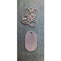 Чистый алюминиевый жетон с цепочкой