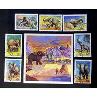 Танзания 1991 г. Слоны. Фауна, полная серия из 7 марок + Блок #0140-Ф1