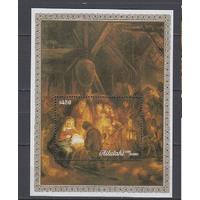 Рождество. Живопись. Аитутаки. 1988.  блок. Michel , бл.71 **
